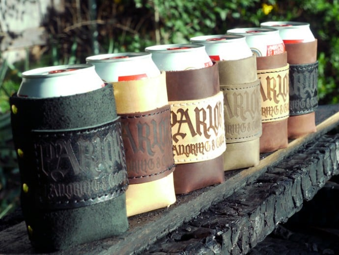 parlor-handcrafted-custom-leather-koozies-www.mensgear.net-cool-gear-tech-mens-gadgets-grooming-style-gizmos-gifts-gift-ideas-travel-alexa-entertainment-google-auto-cars-rides-watches-babes-nude-xxx-ass-pussy-blog-awesome-