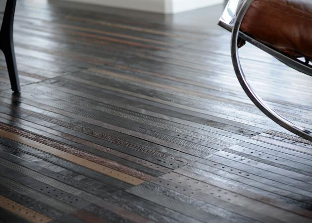 RECYCLED LEATHER BELT FLOORING