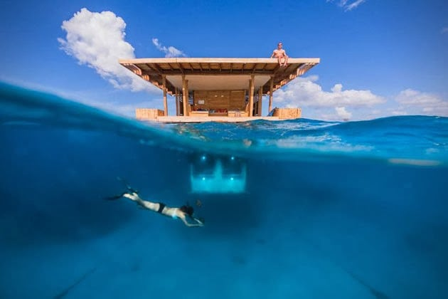 UNDERWATER FLOATING HOTEL ROOM AT MANTA RESORT