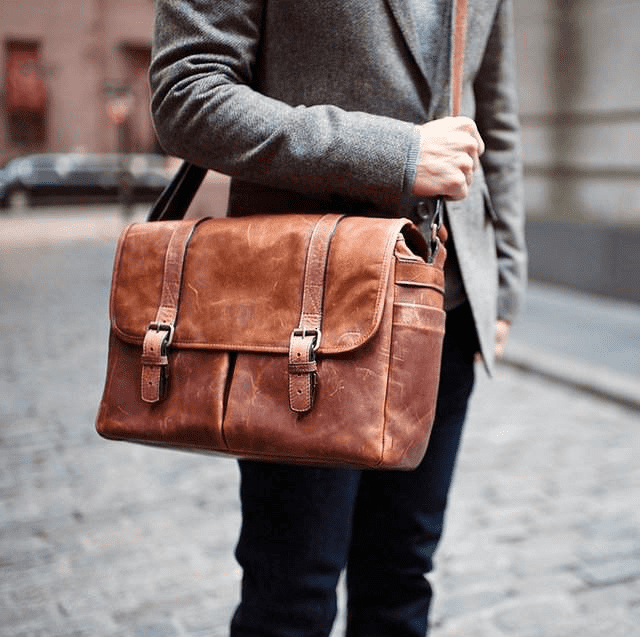 Leather Brixton Camera Laptop Messenger Bag