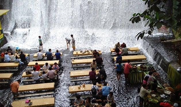 Villa escudero waterfall restaurant in the philippines