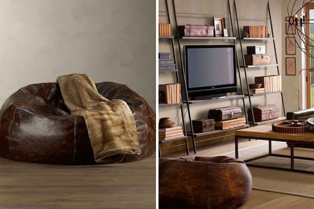 Distressed Leather Bean Bag Chair Men S Gear