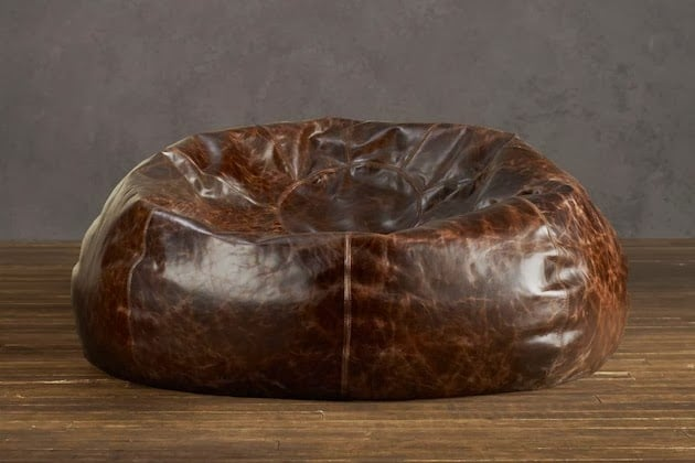 Distressed Leather Bean Bag Chair