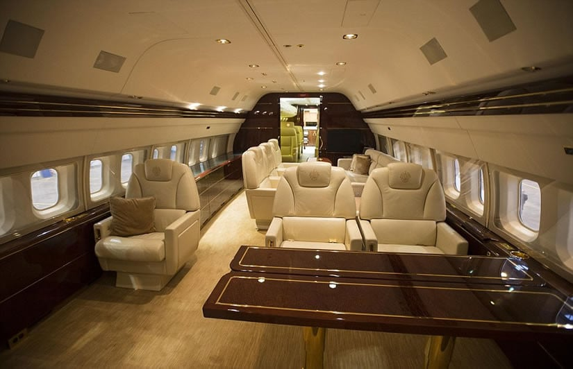 Donald Trump jet - the gold plated light fixtures and seat belt buckles