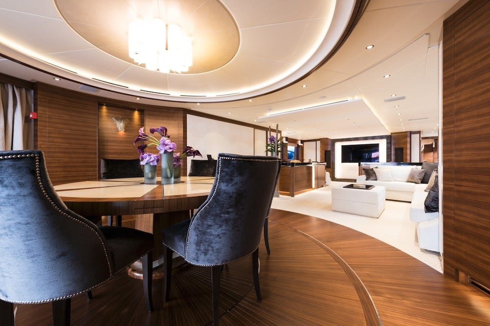 Hybrid Silver Wind Motor Yacht Dining Area