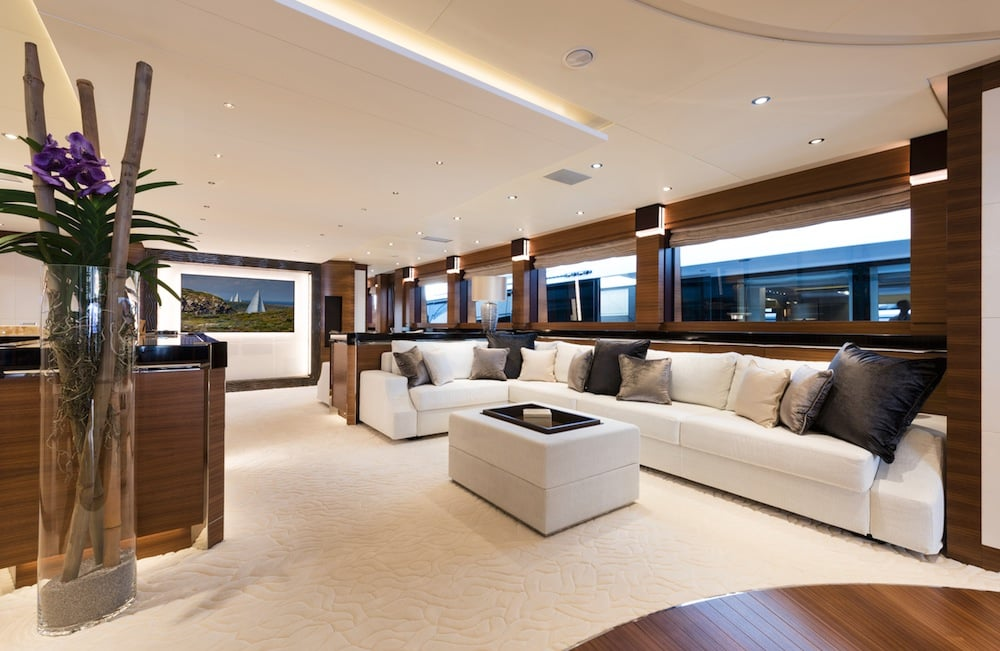 Hybrid Silver Wind Motor Yacht Living Area