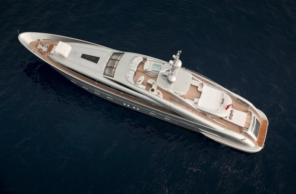 Hybrid Silver Wind Motor Yacht Top View