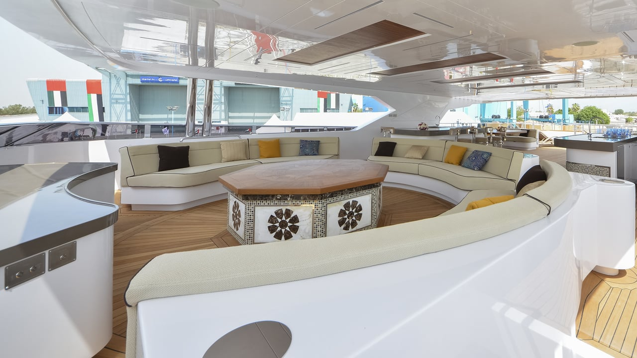 Majesty 155 Luxury Yacht Seating Area