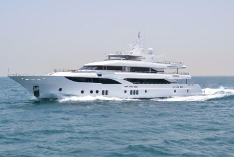 Majesty 155 Luxury Yacht Side View