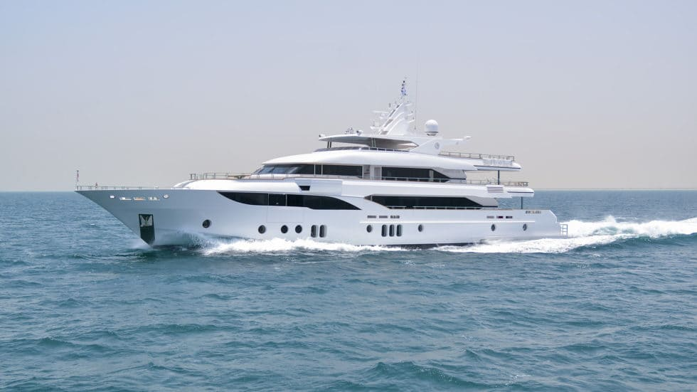 Majesty 155 Luxury Yacht Side View