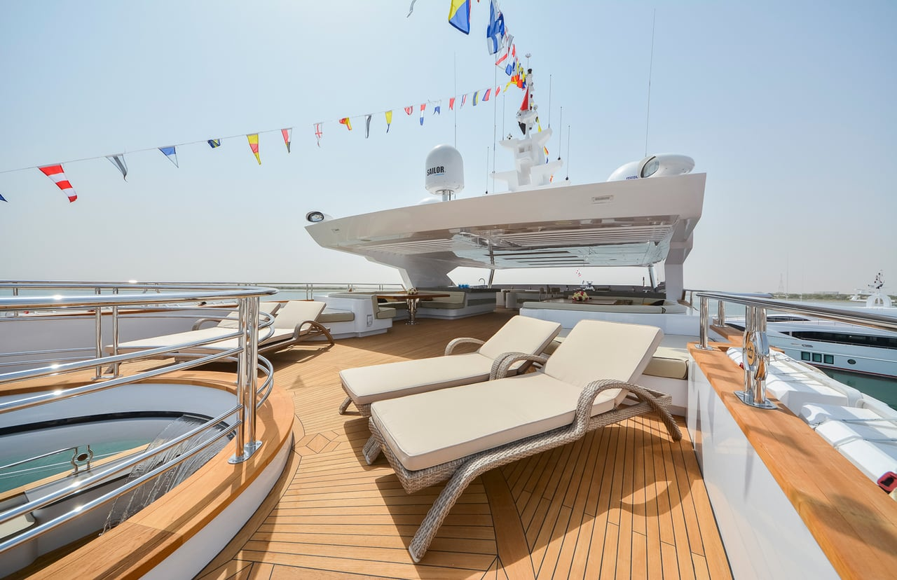 Majesty 155 Luxury Yacht Sun Deck Lounge