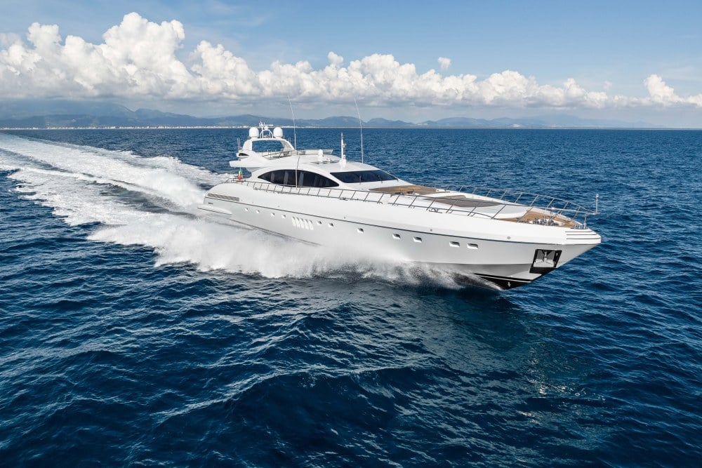 Mangusta 132 Private Yacht Front View