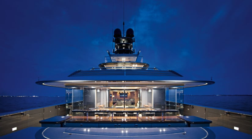Silver Fast Superyacht Deck in the Night