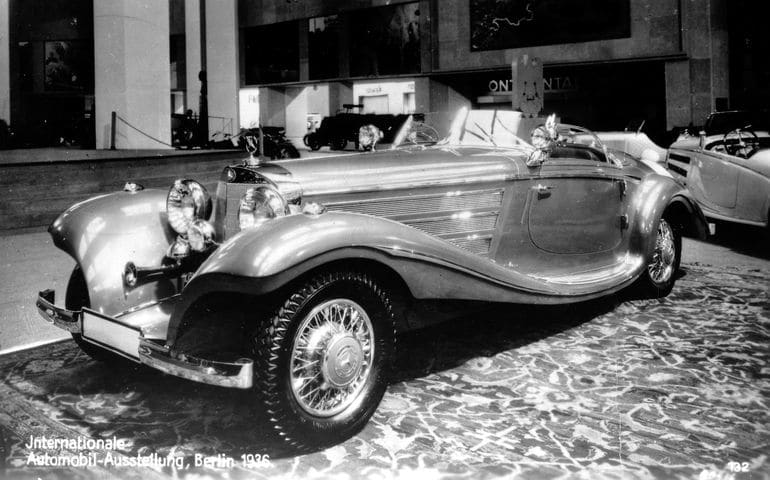 The Mercedes-Benz 500K Spezial Roadster on display at the 1936 Berlin International Automobile Exhibition