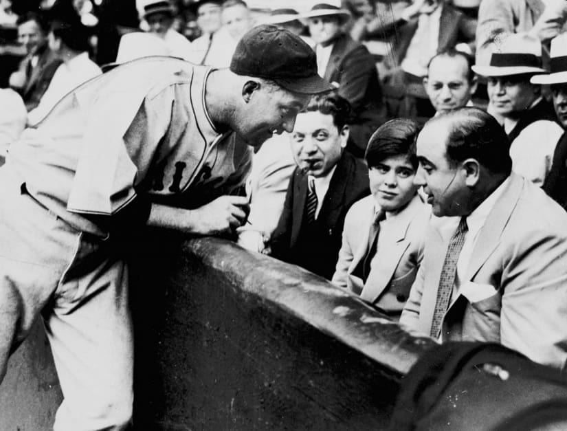 Al Capone a celebrity. Ringside at Comiskey Park, sitting with state Rep Roland Libonati