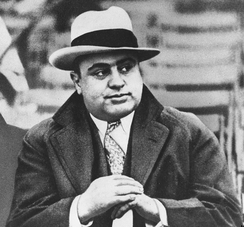 Al Capone, the infamous Italian leader of Chicago organized crime
