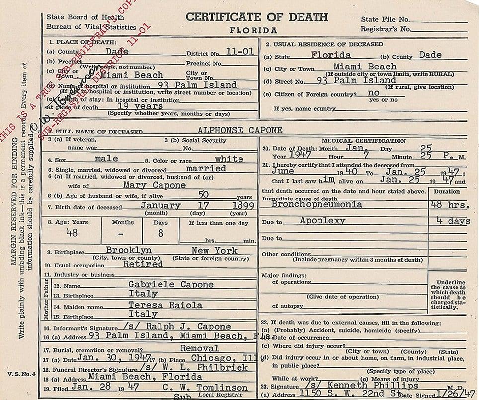 Al Capone's death certificate