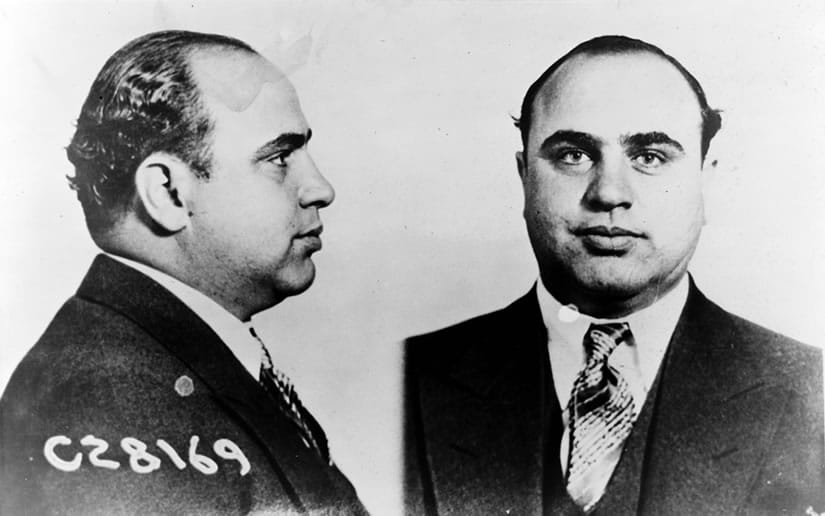 Al 'Scarface' Capone, nickname he received because of the scar on his face, caused by a cutting knife