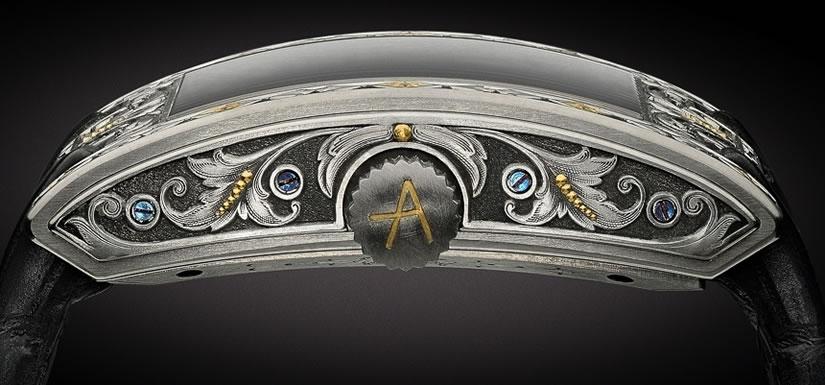 Arabesque Timepiece by ArtyA Black Crocodile Strap