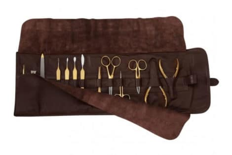 Beautiful Brown Leather & 24K Gold Manicure Set