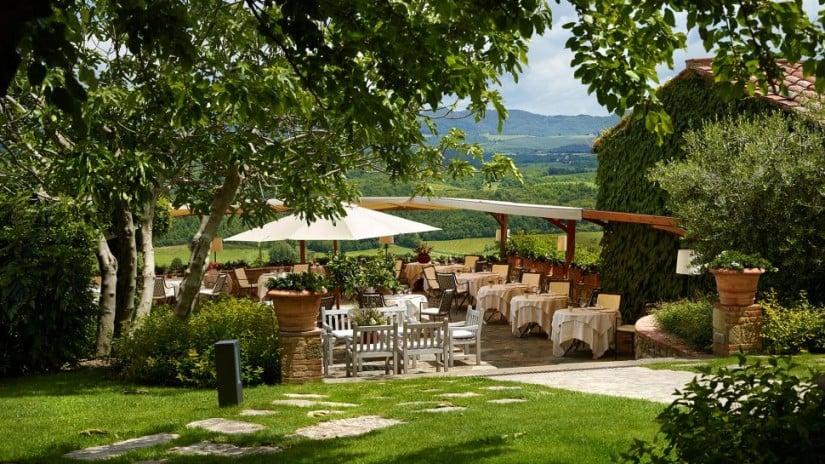 Italy, Hotel Le Fontanelle Outside Restaurant