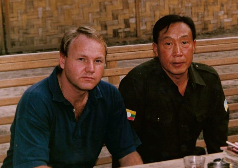 Khun Sa with Australian journalist Stephen Rice
