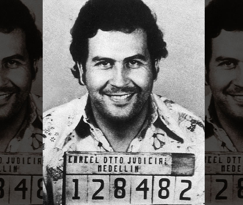Pablo Escobar after his arrest for trafficking in 1976