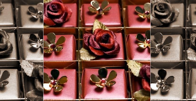 Expensive chocolates adorned with Swarovski crystals