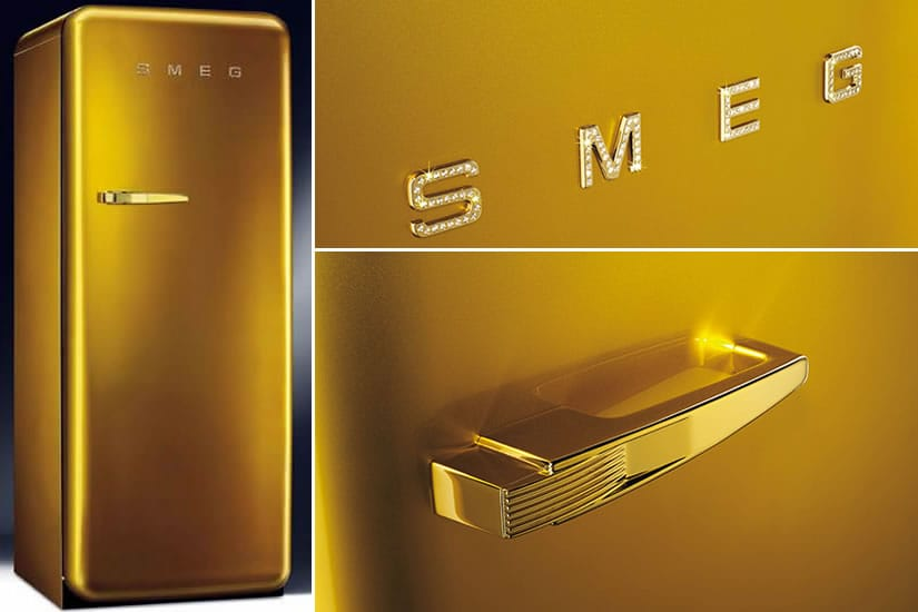 Smeg Gold Retro Fridge Boasts Swarovski Adornments