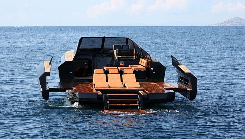 Back View, Evo 43 Transformable Luxury Boat