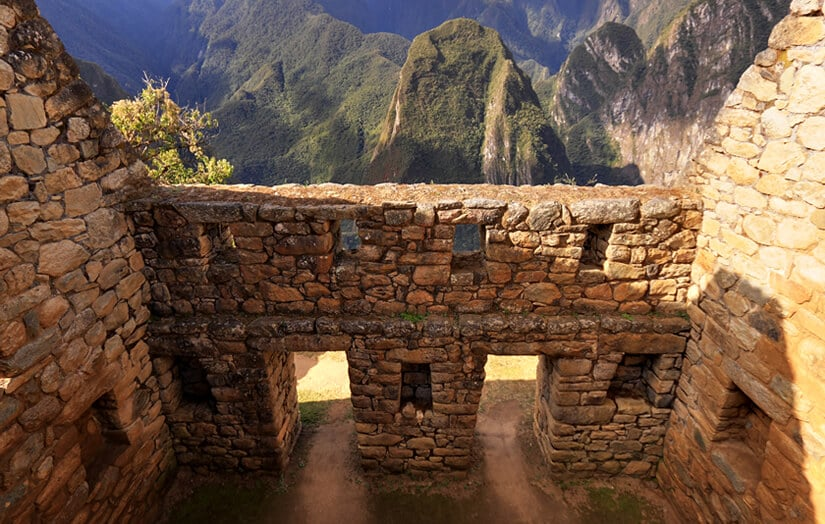 Interior of an Inca building, featuring trapezoidal windows