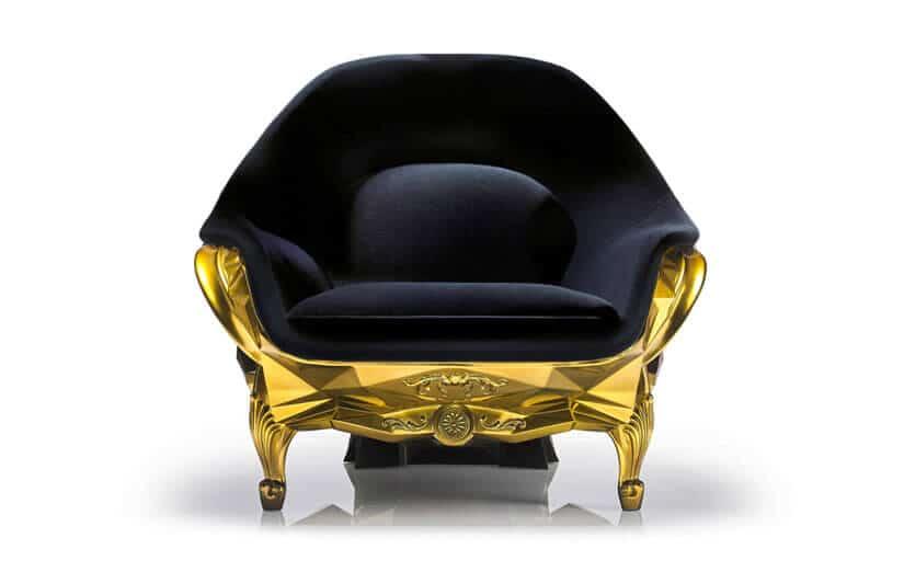 Luxury Black Velvet, 24-Karat Gold Skull Armchair