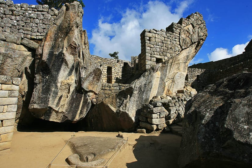Natural rock forming the condor's wings Temple of the Condor Machu Picchu