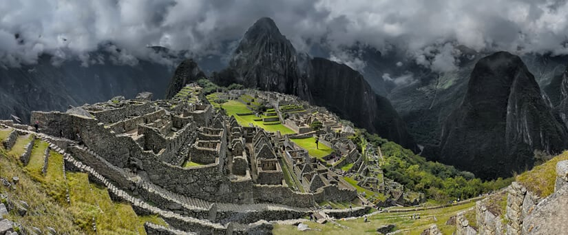 Panoramic view of Machu Picchu, with Huayna Picchu at the background