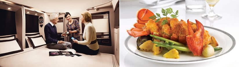 Singapore Airlines Suites, exclusively on board the A380 aircraft - Exquisite dining