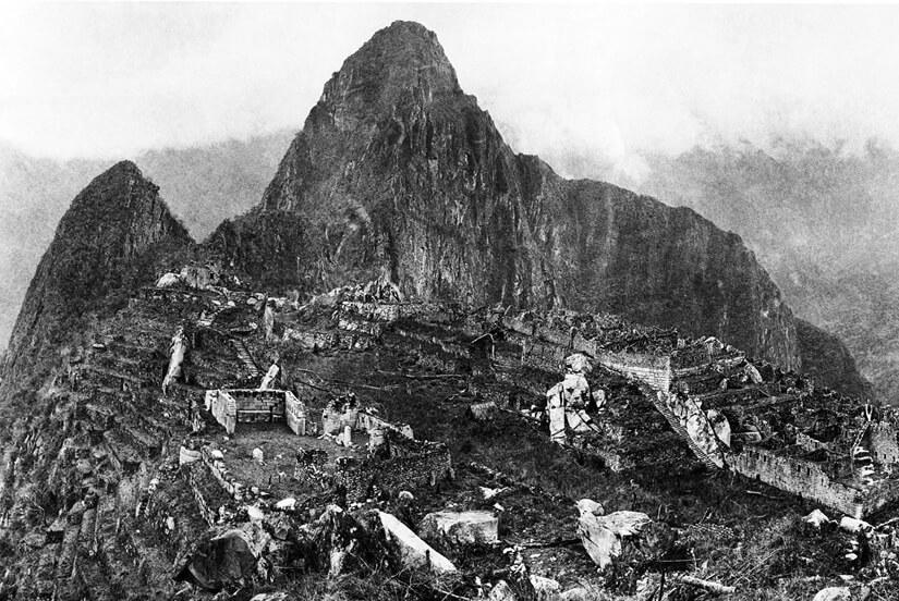 View of the city of Machu Picchu in 1912 - original ruins