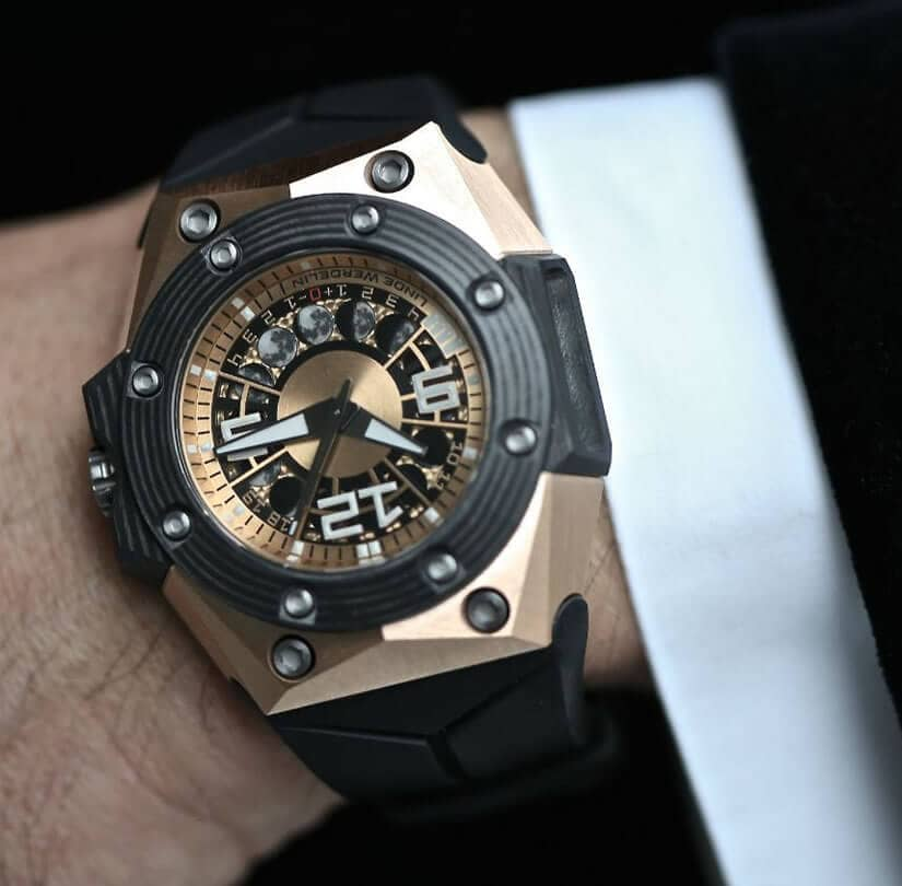 Oktopus Moon Gold 3DTP Carbon Watch, Dial