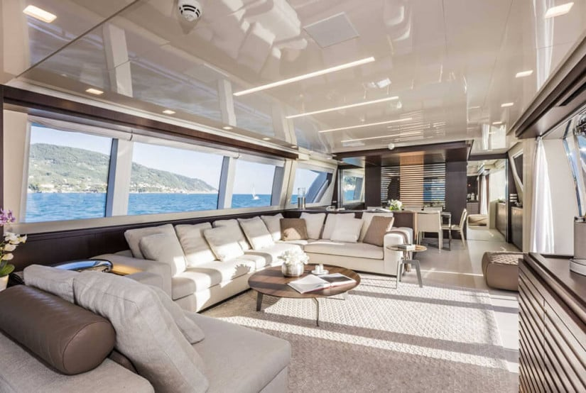 Custom Line 108 Luxury Yacht, Living Area