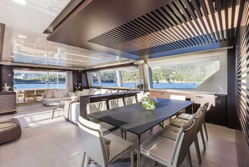 Dining, Custom Line 108 Luxury Yacht