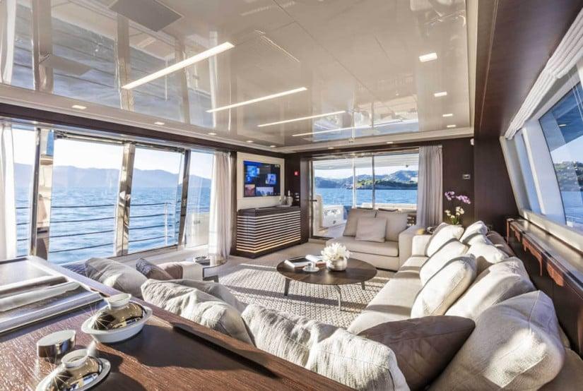Living, Custom Line 108 Luxury Yacht