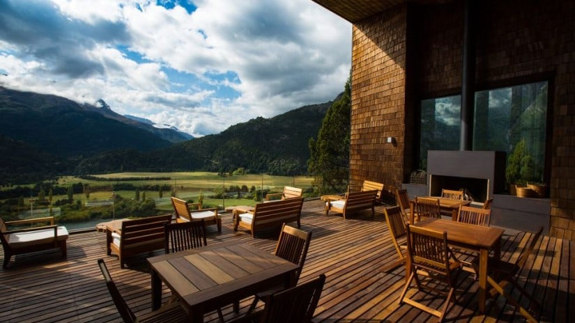 Uman Lodge Luxury Resort in Patagonia, Terrace