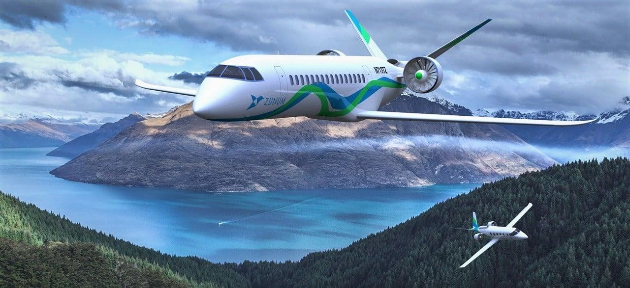 The Zunum Aero flying over an island city on a clear sunny day