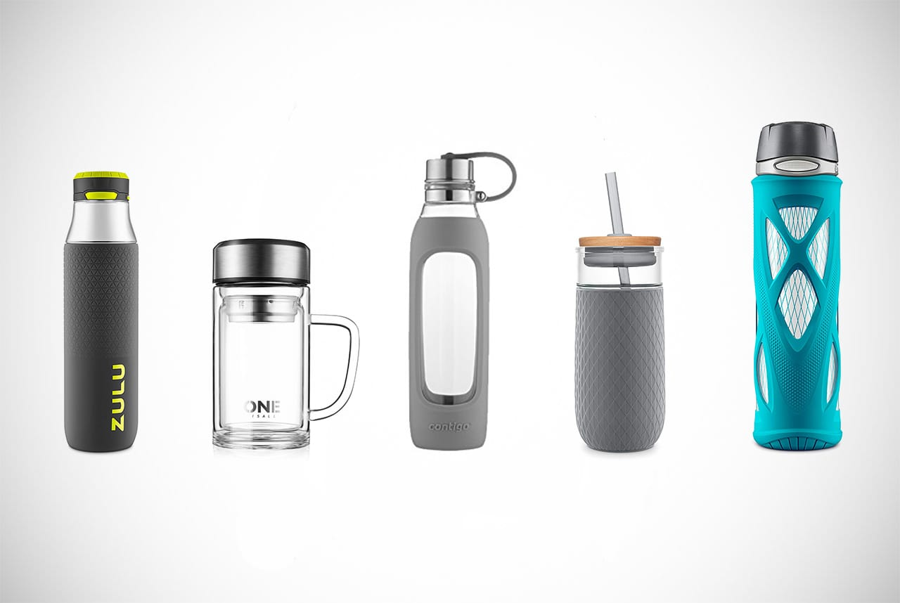 10.8 oz Borosilicate Glass Water Bottle with Plastic outer cover Lid with Strap