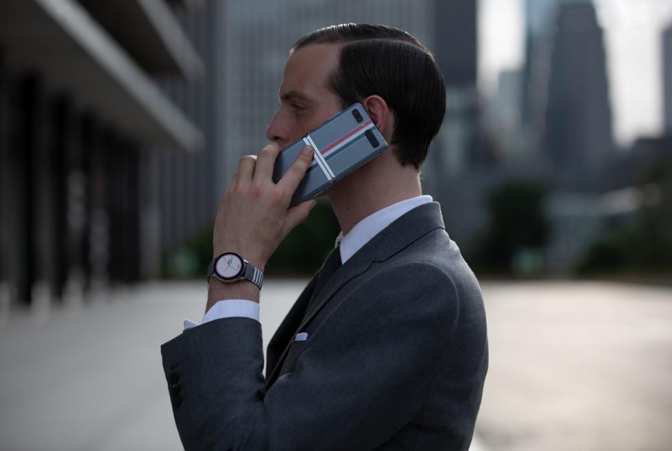 Flaunt fashion using the Samsung Galaxy Z Flip Thom Browne Edition