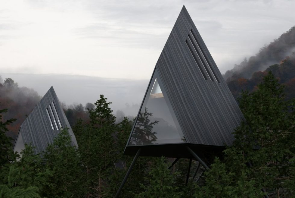 Take A Triangular View of the Forest Treetops Inside The Antony Gibbon A-F3 Treehouse