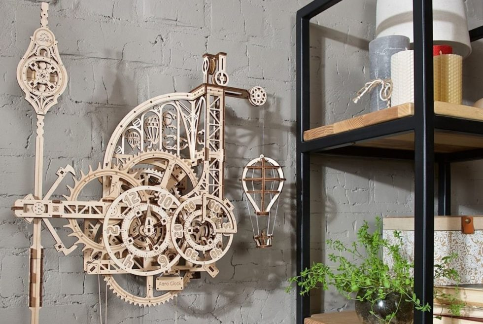 The Ugears Aero Clock Is a Fully-Functional 3D Wooden Mechanical Model