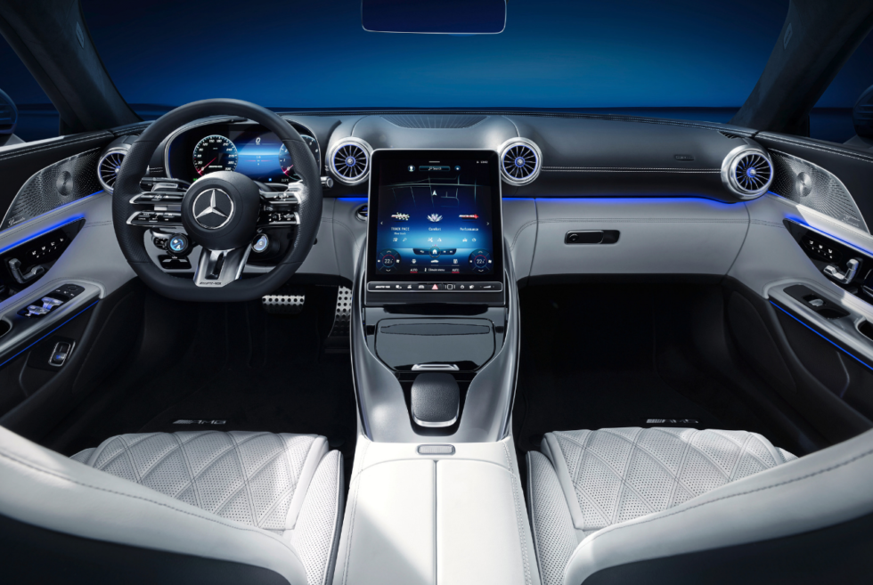 Hyperanalogue design is the buzzword for the 2022 Mercedes-AMG SL Roadster cockpit