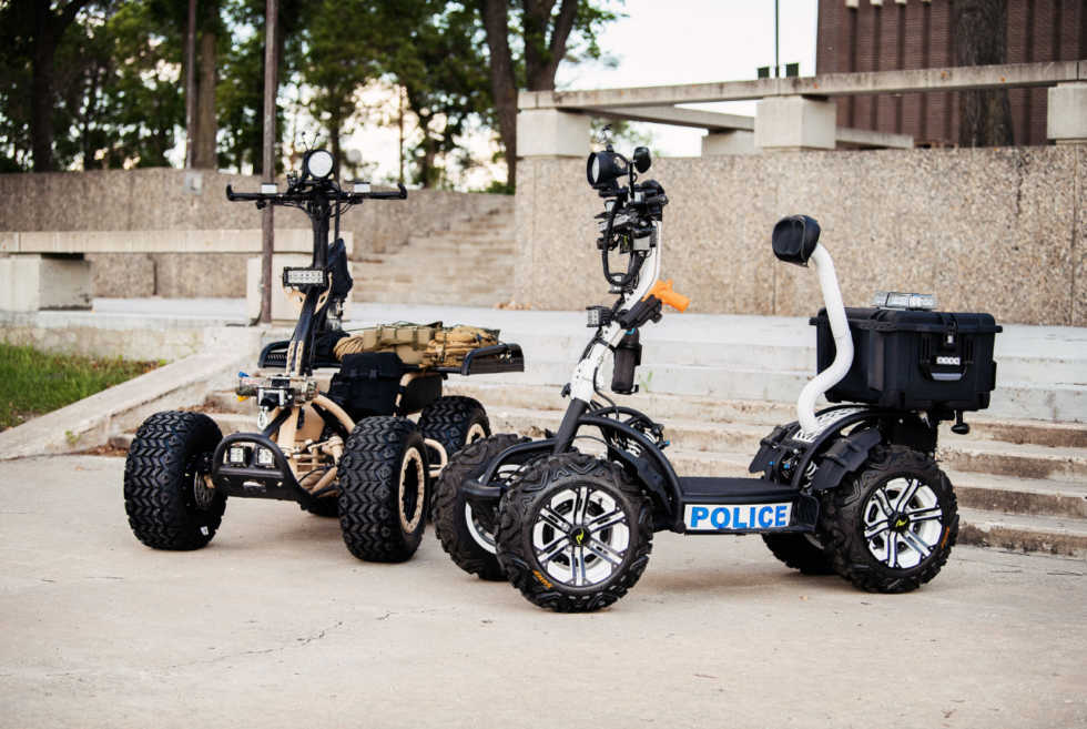 The LyteHorse is an all-electric stand-up ATV that can tow up to 2,500 lbs of cargo