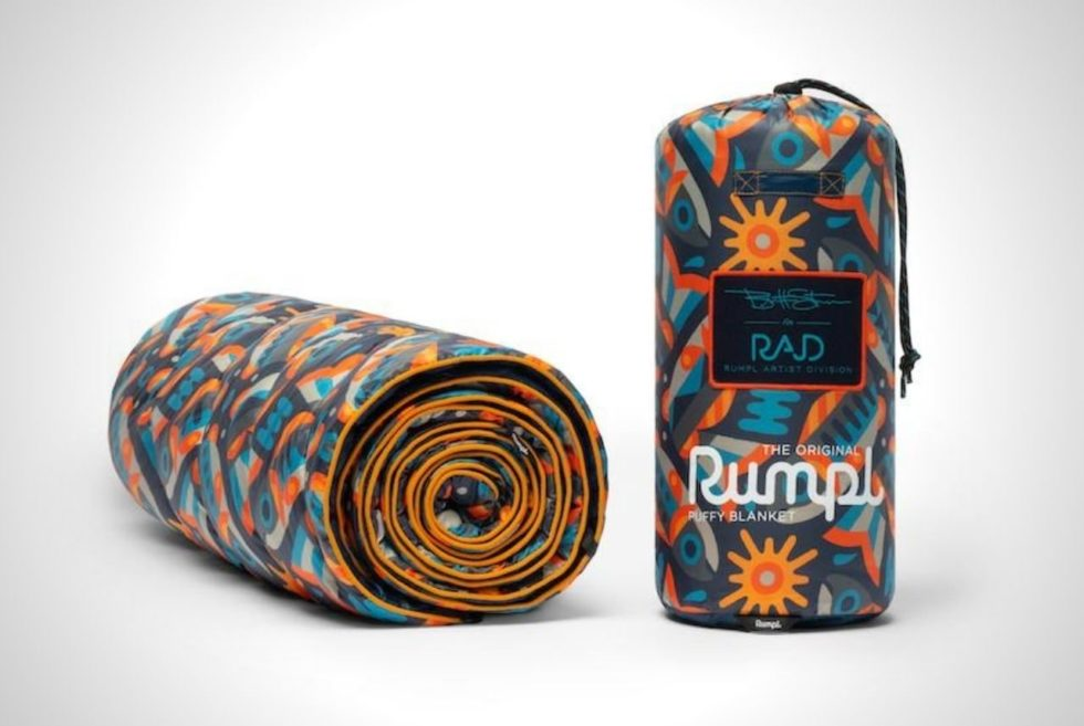 Rumpl x Brett Stenson Fish Are Fly Puffy Blanket Uses 100% Recycled Plastic Waste